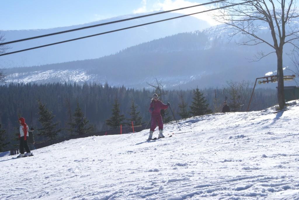 Wyciąg Miachałek widok na Śnieżkę